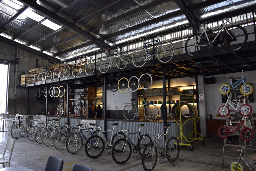 Interior of Wheeler's Yard. The workshop space. Look at all those urban, vintage bicycles. They are even for sale.