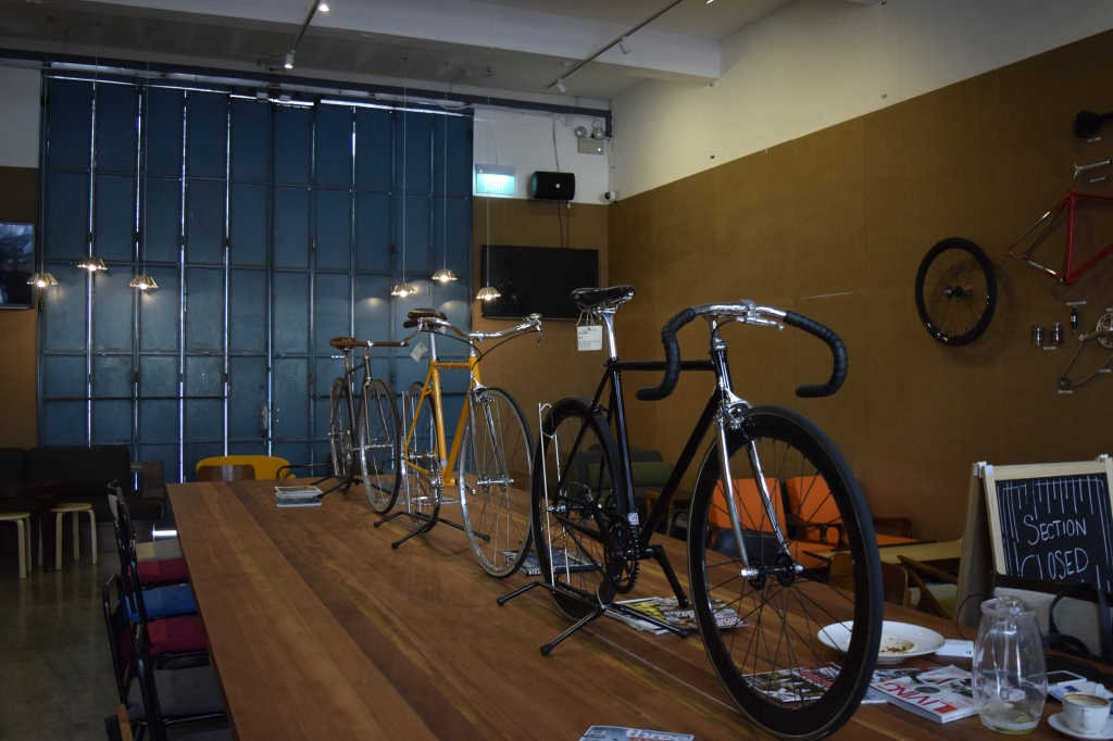 Interior of the cafe. Bicycles are used as decor.