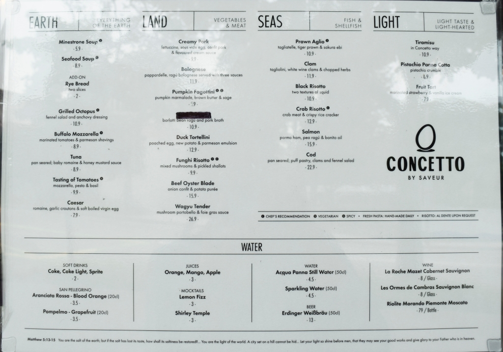 Menu of Concetto by Saveur.