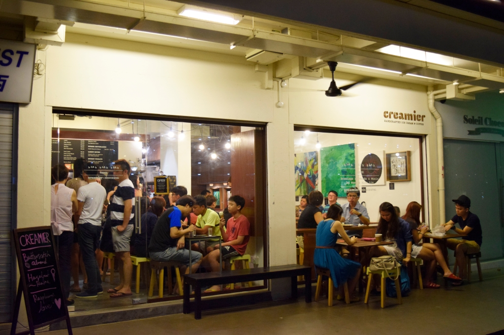 Creamier at night. This was my first time visit. Look at the cringe-worthy crowd.