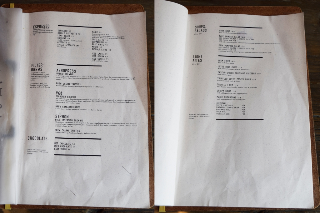 First two pages of their menu. Drinks & Starters.
