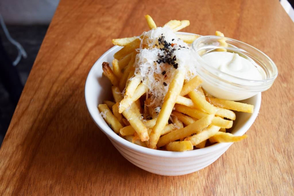 Truffle Fries ($12.90) Freshly grated truffle, Truffle aioli, Parmesan Most of my friends really liked their truffle fries. I found it to be just okay. I couldn't really taste the truffle, unless I dipped it in the aioli. I do think it's because other places tend to use Truffle oil, which blends the flavor more evenly in the fries, whereas Stranger's truffle is grated.