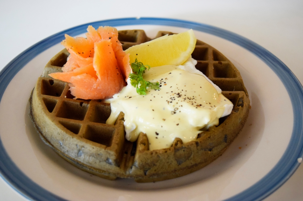 Squid Ink Waffle with Smoked Salmon ($18.90) Poached Egg & Hollandaise My friend who ordered this said he really liked the whole dish. He especially loved the idea of a poached egg on top of the savoury waffle. Another great concept for a waffle.