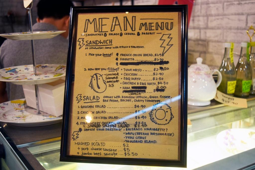Their menu of more savoury items.