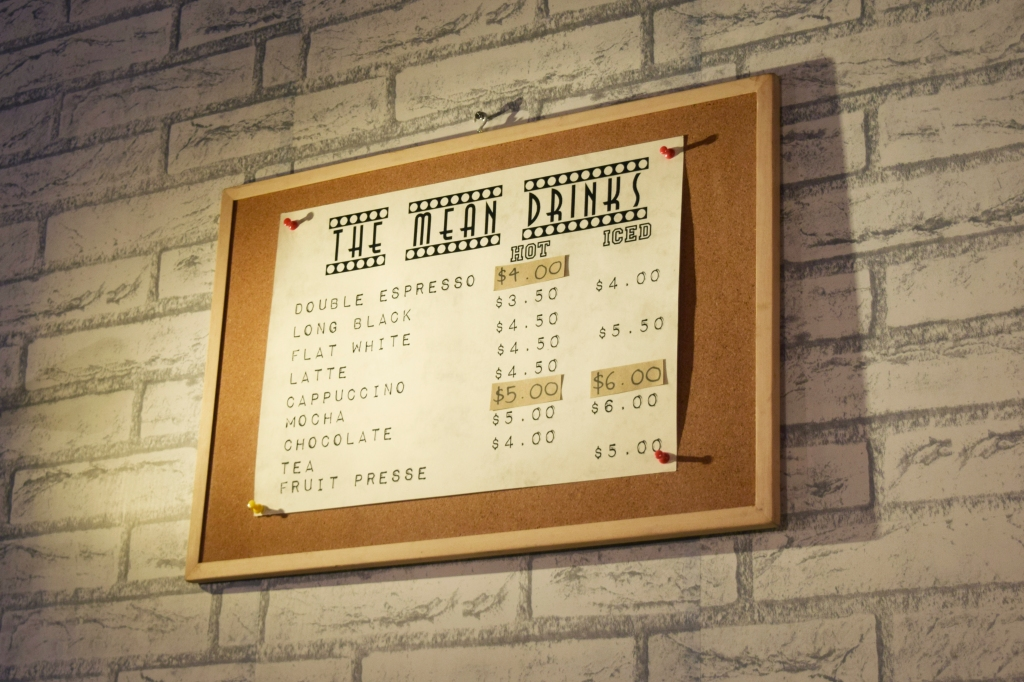 Mean Bean's little drink menu.