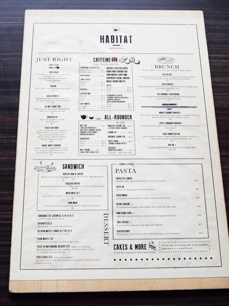 Habitat's menu.