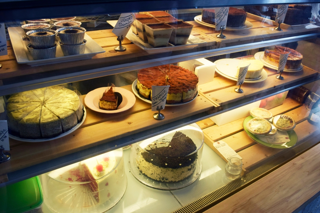 Habitat's cake counter. Lots of homemade cakes to choose from!