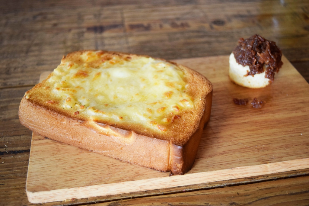 """Gashouse Egg with Bacon Jam ($10) """"Egg-In-The-Bread-With-The-Hole-In-The-Middle"""" This used be to nicknamed """"Toad in the Hole"""". As said in the description, it's basically bread with an egg in a hole in the middle."""