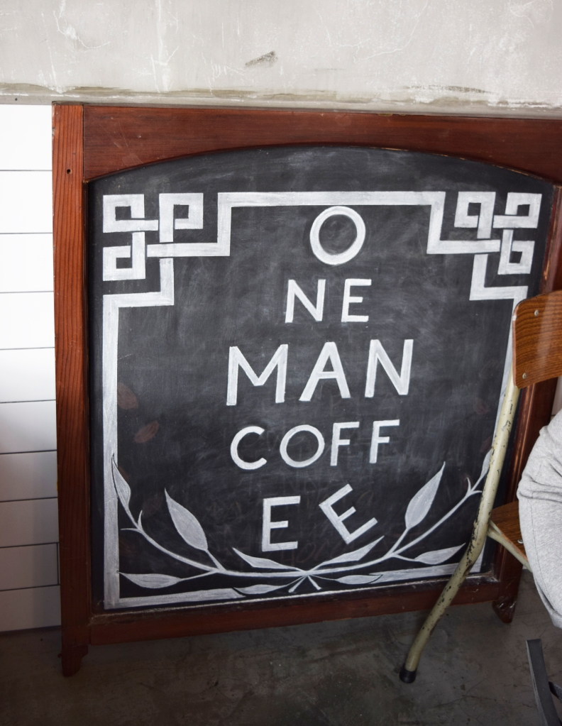 Their signage neatly drawn on a chalkboard.
