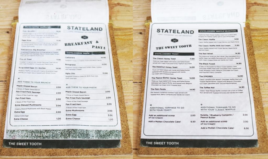 Stateland's food & dessert menu.