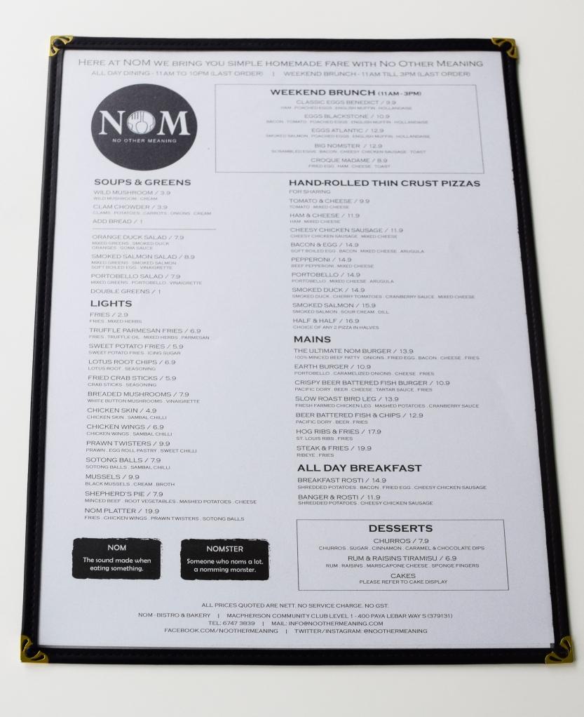 NOM's food menu.