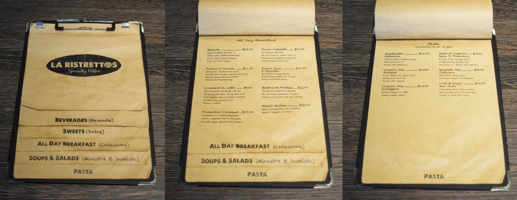 A sample of their menu.
