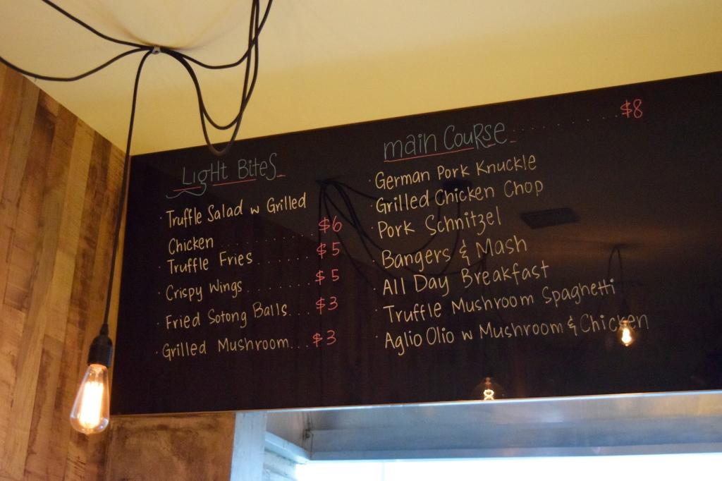 Knuckles' food menu.