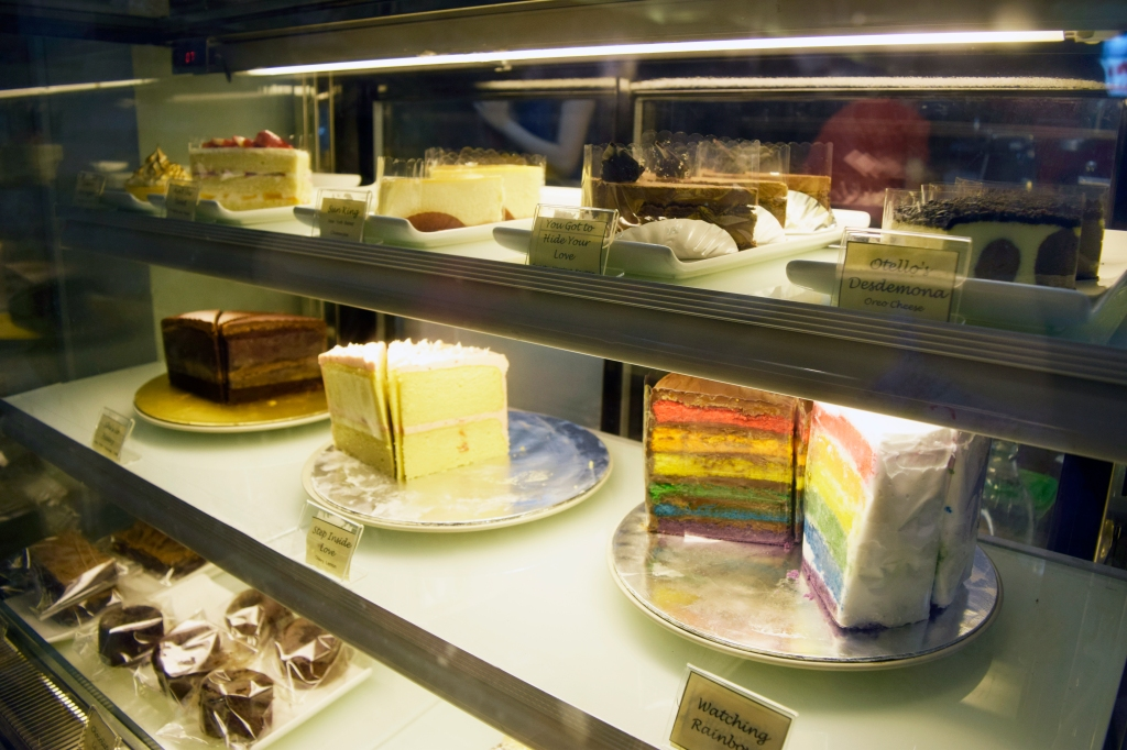 Dessert counter with all their pretty cakes.