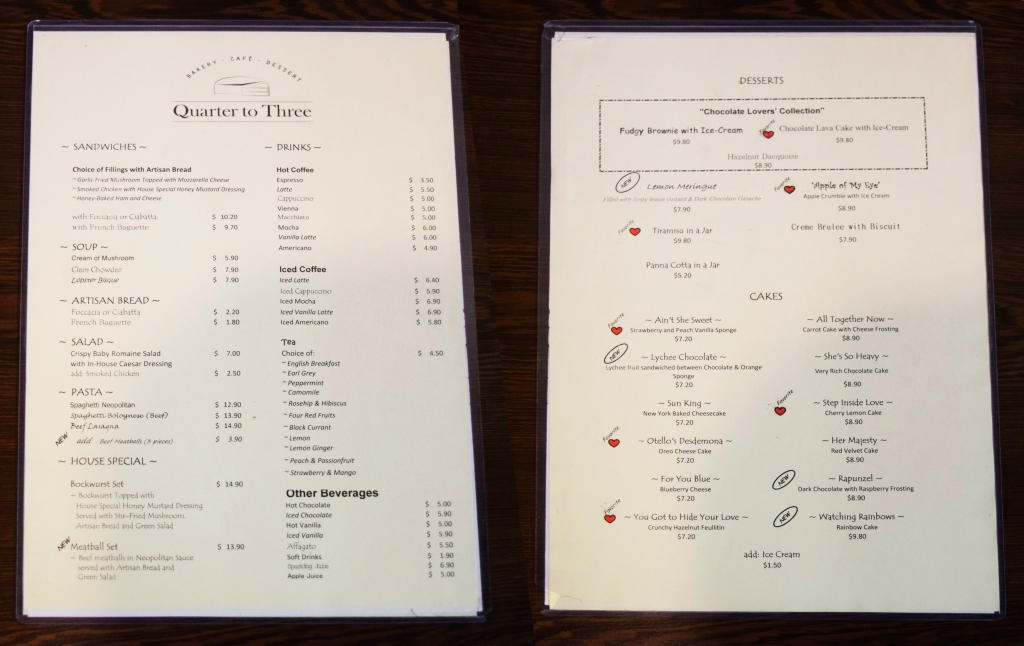 Front & back of their food/drinks/dessert menu.