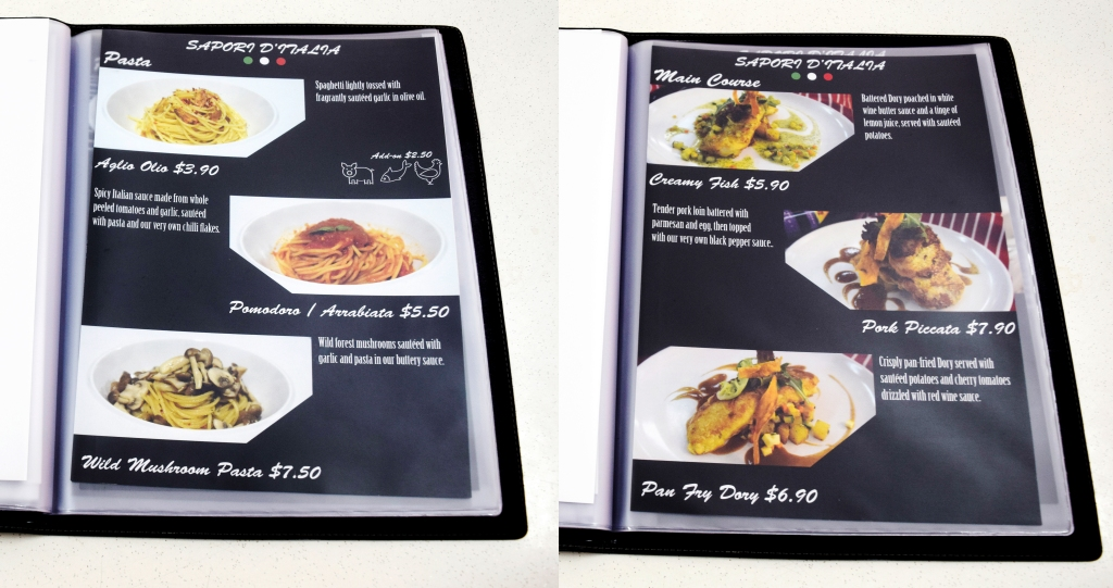 A sample of their menu. You can have a look at their entire menu on their Facebook page.
