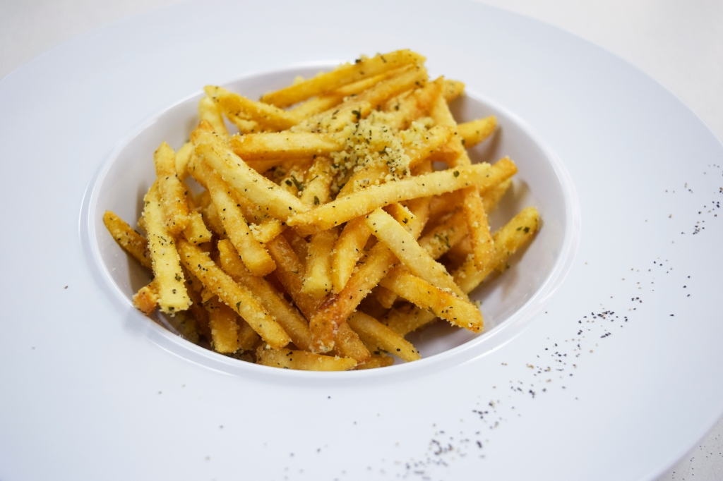 Truffle Fries with Parmesan ($4) You can have just ordinary Fries ($1) or Truffle fries ($3) or Truffle with Parmesan ($4) Trust me, they taste just  as good as those overpriced cafe counterparts. Finally a place with extremely affordable Truffle Fries! Highly recommended!