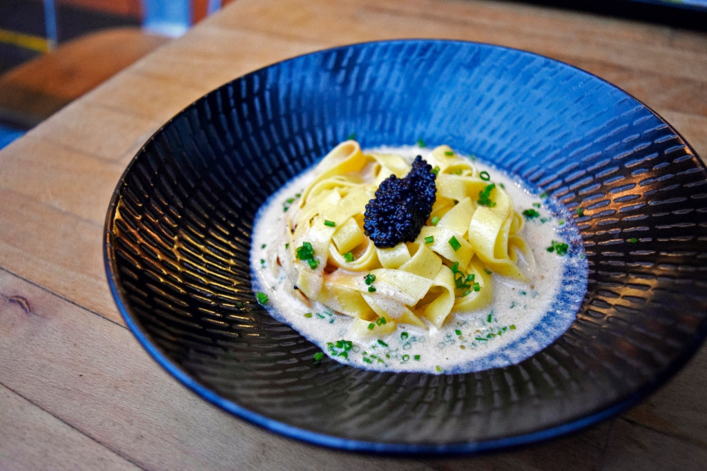 Sea Urchin Tagliatelle (Normally $18) Sea Urchin Zabaione, Egg-yolk Tagliatelle, Smoked Garlic, Caviar This is one of their latest creations that's on the latest menu. It was also really good! Delicious & creamy. Had to slurp up every last bit of caviar & cream. Another dish that is a must-try at Platypus.