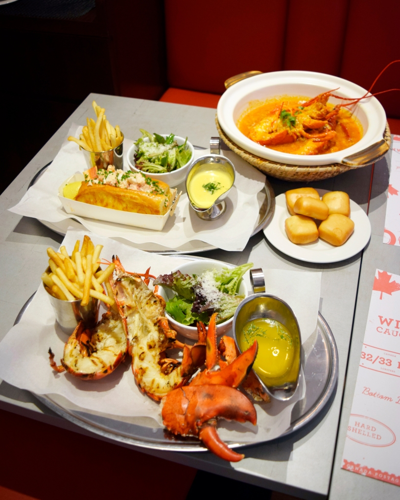 """Entire shot of all the lobster goodness.  """"Moment on the lips, forever on the hips."""""""