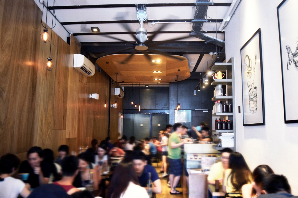 Inside the cafe. The weekend crowd. Horrendous isn't it?