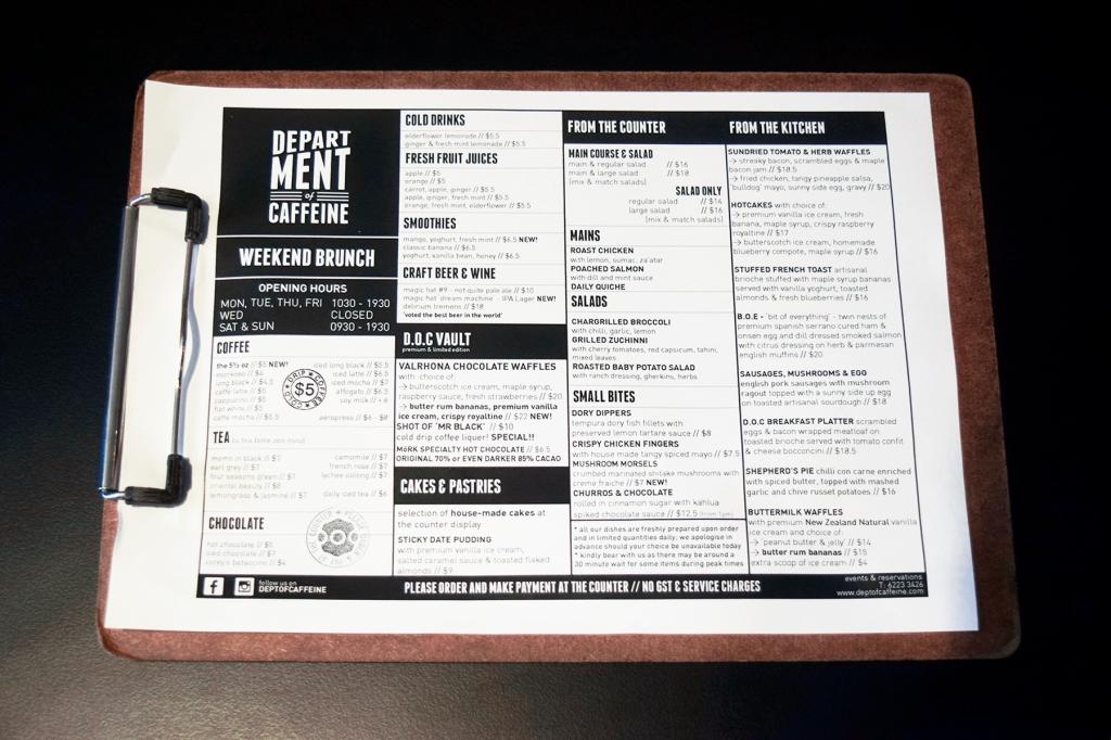 DOC's weekend brunch menu.