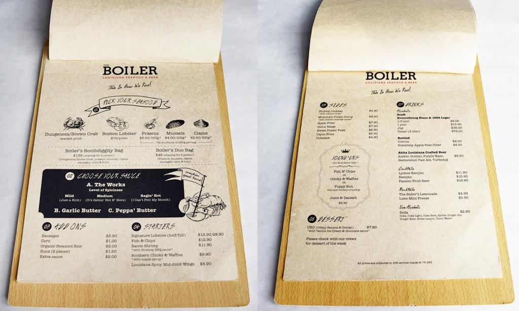 Menu of The Boiler. Seafood, seafood & more seafood!