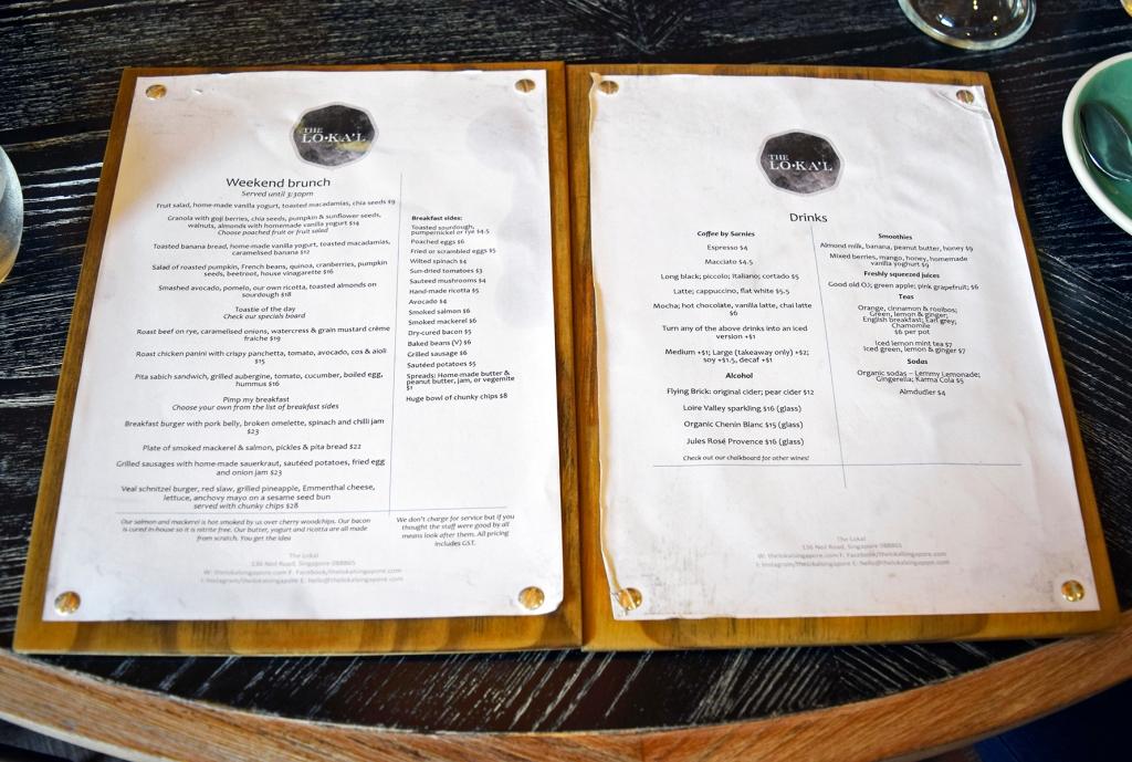 The food & drinks menu of The Lokal.