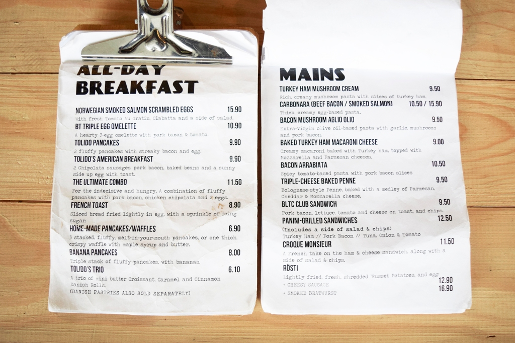All-day Breakfast & Mains menu of Tolido's.