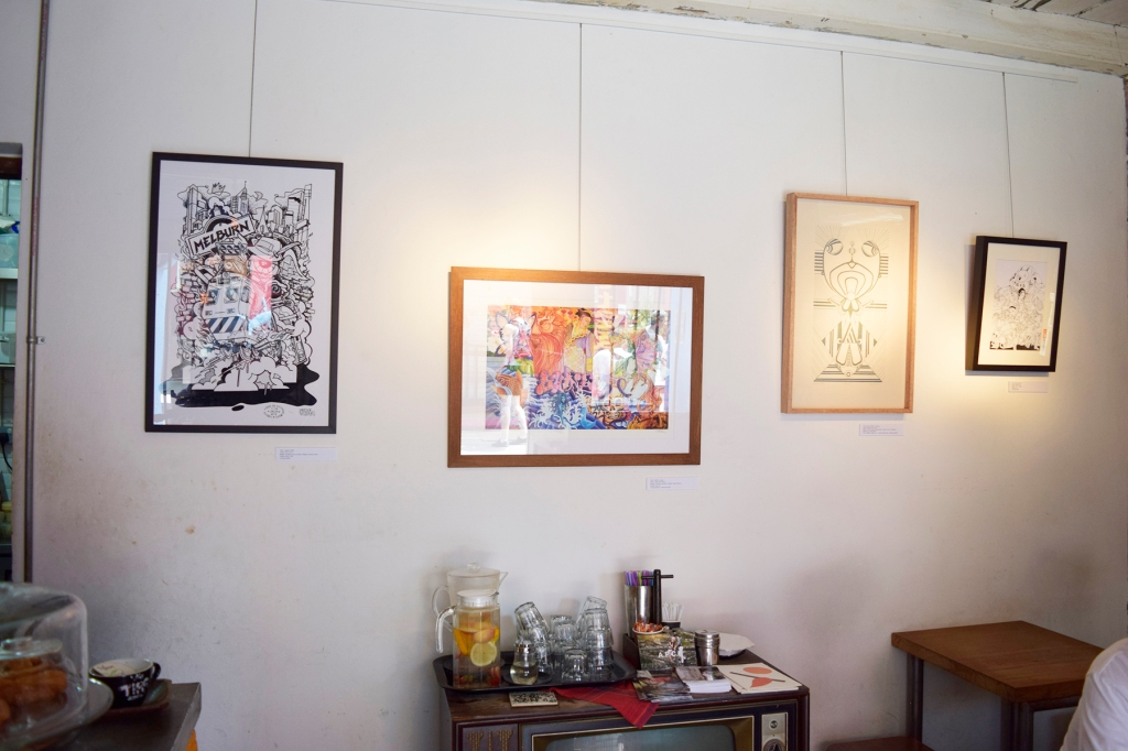Artworks on display.