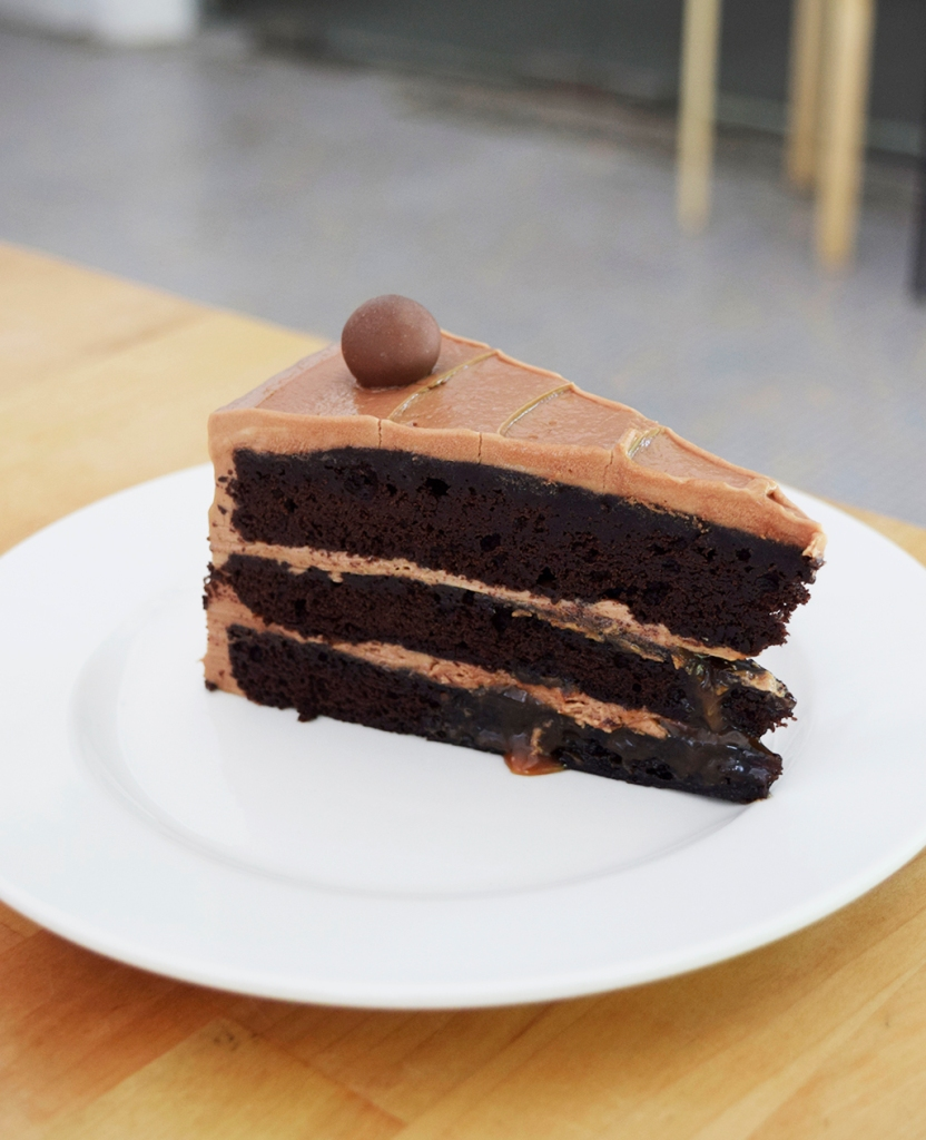 """Salted Caramel ($8) My friend was a fanatic of all things Salted Caramel, and hence this was one of our """"Locked"""" choices. We both liked it a lot, it was also as moist as all the other cakes & it had salted caramel sauce gushing out in-between the layers of the cake."""