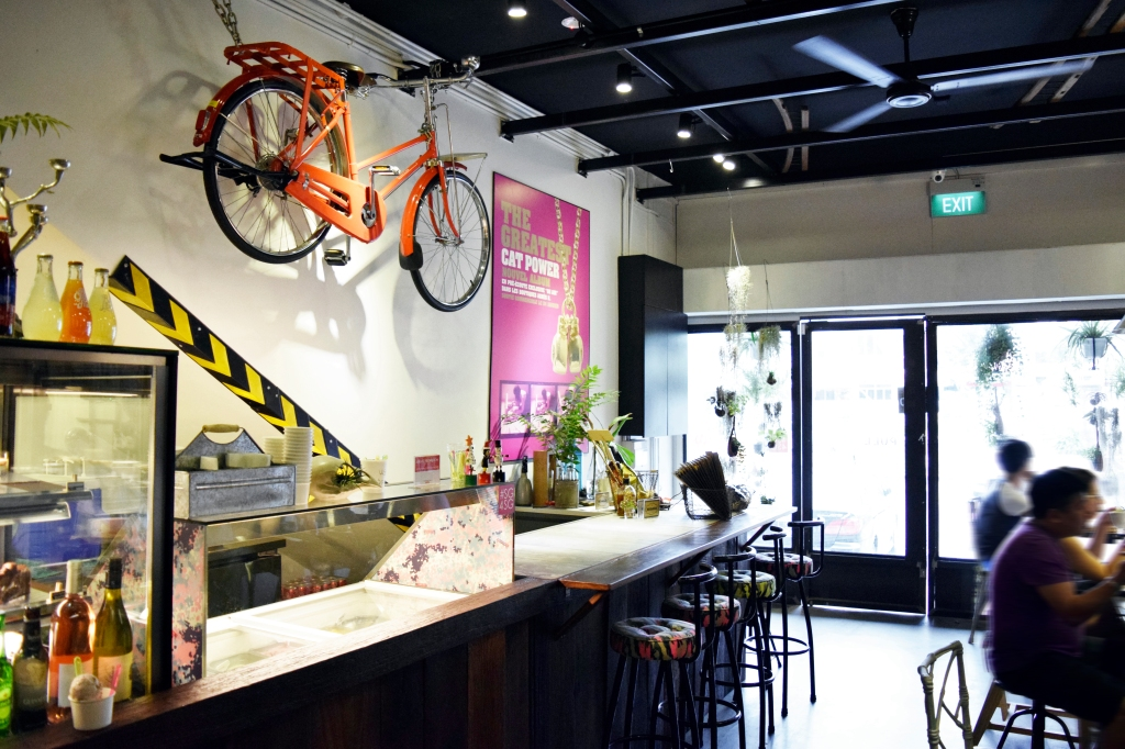 Another view of the cafe's interior. Cool bicycle.
