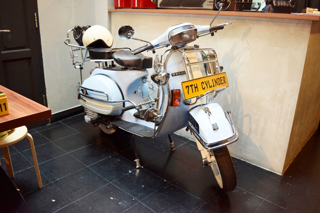 There's even a Vespa inside the cafe!