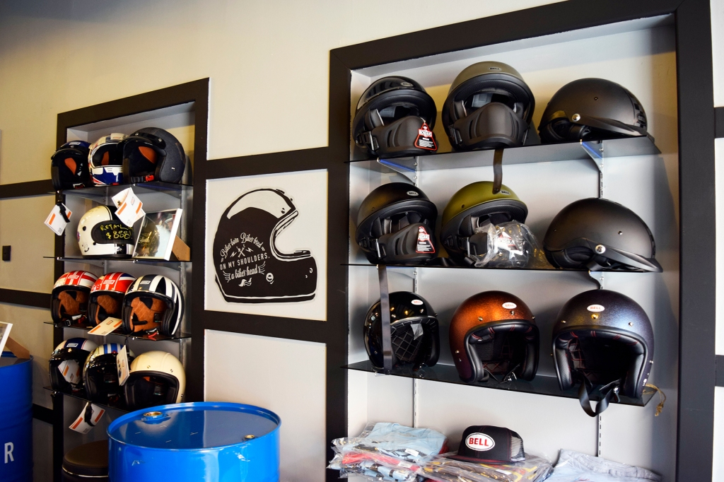 Bike helmets & shirts on display. They are even for sale!