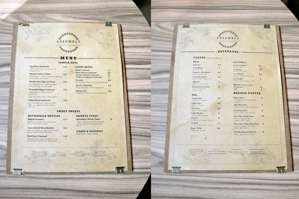 Menu of Assembly Coffee.