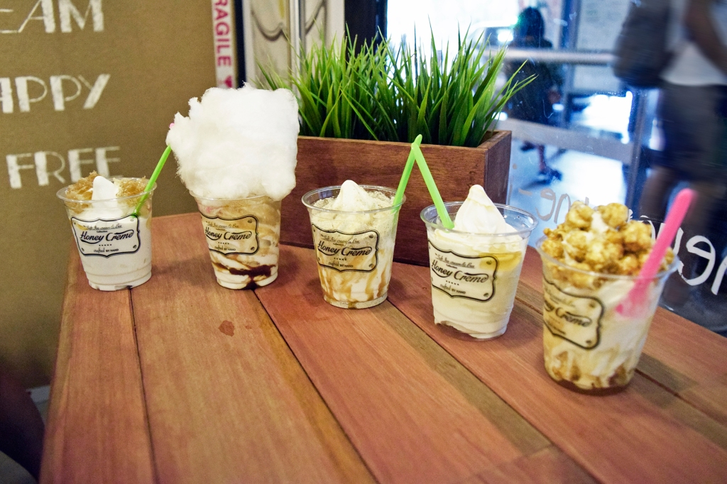 Here you have it. Honey Creme galore! From left to right Honey Comb, Organic Cotton Candy Affogato, Organic Mixed Grains, Comb Honey (It's just a topping of honey), Popcorn