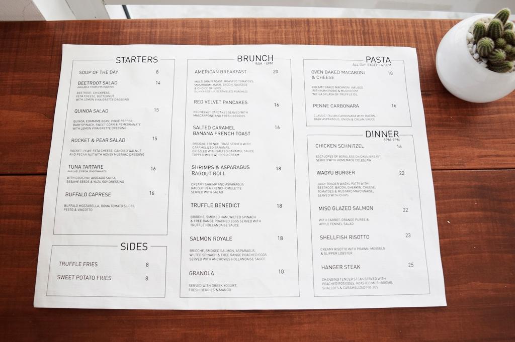 The menu of Pacamara.