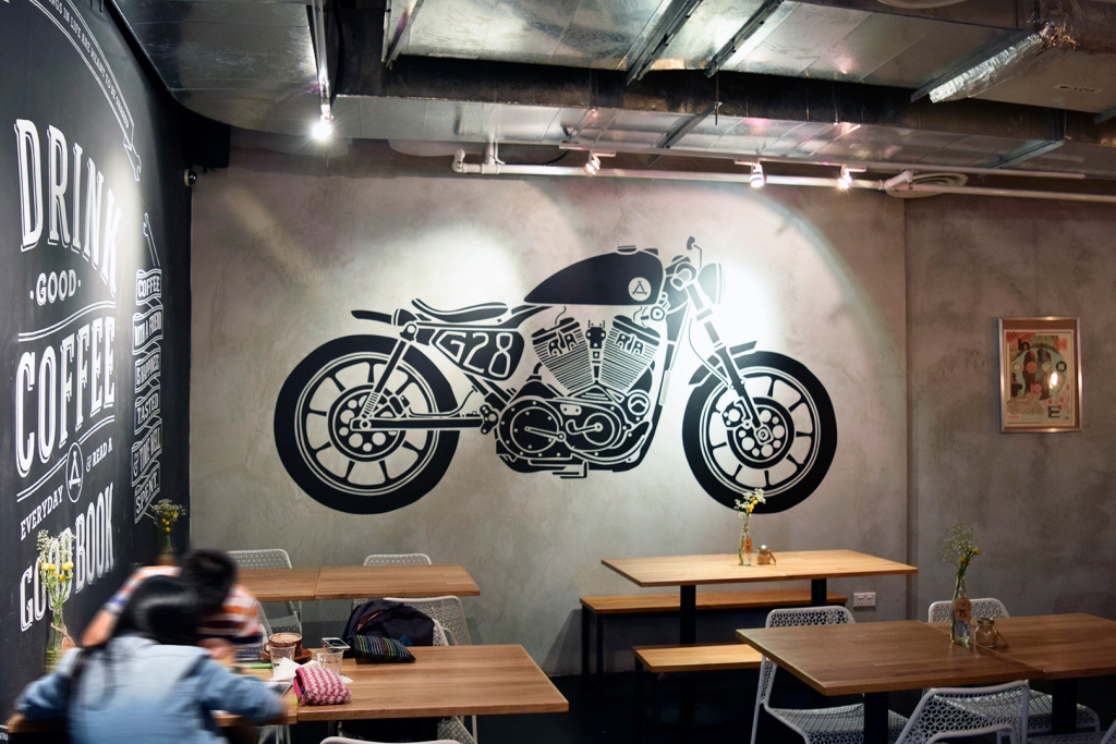 Stencil wall art.  I actually had to do a double take as this looked extremely similar to the one at The 7th Cylinder. They are different though.