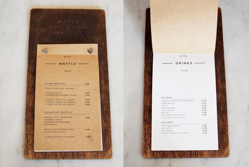 Small menu of Maple & Market.