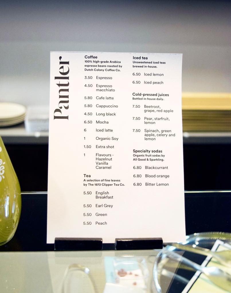 Drinks menu of Pantler.