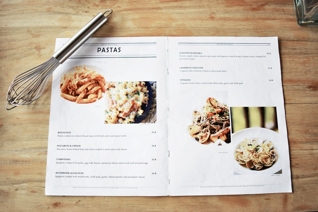 A sample of the menu of Whisk & Paddle. You can have a look at their full menu here.
