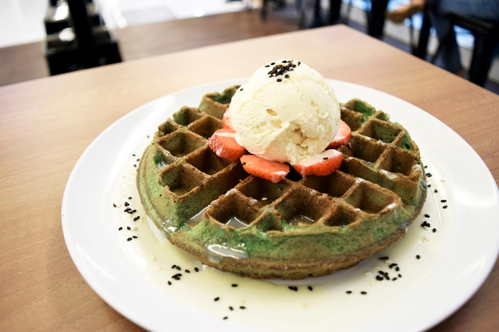 Matcha Strawberry Field Waffles ($9.50) I actually spotted this when they were having their professional photography for Montana at Montana & was tempted due to the amazing colour & presentation of the dish. This was another winner in my book. Delicious green tea waffles paired with fantastic strawberries & ice-cream.  (Is this my first time coming across a Matcha Waffle? I think it is!)