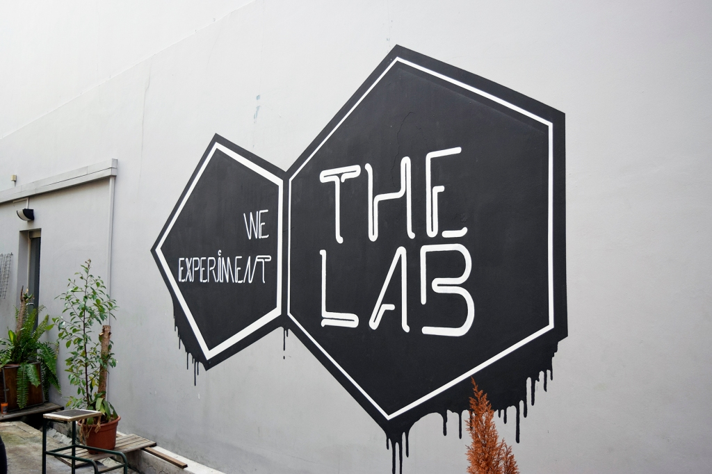 A stencil of The Lab on the side of the shophouse. (This was where 7th Cylinder's motorcyle stencil used to be. A pity it's gone.)