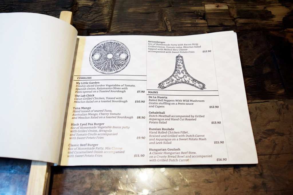 Here's another page of their menu. I do like the geometrical patterns. A play on live organisms perhaps?
