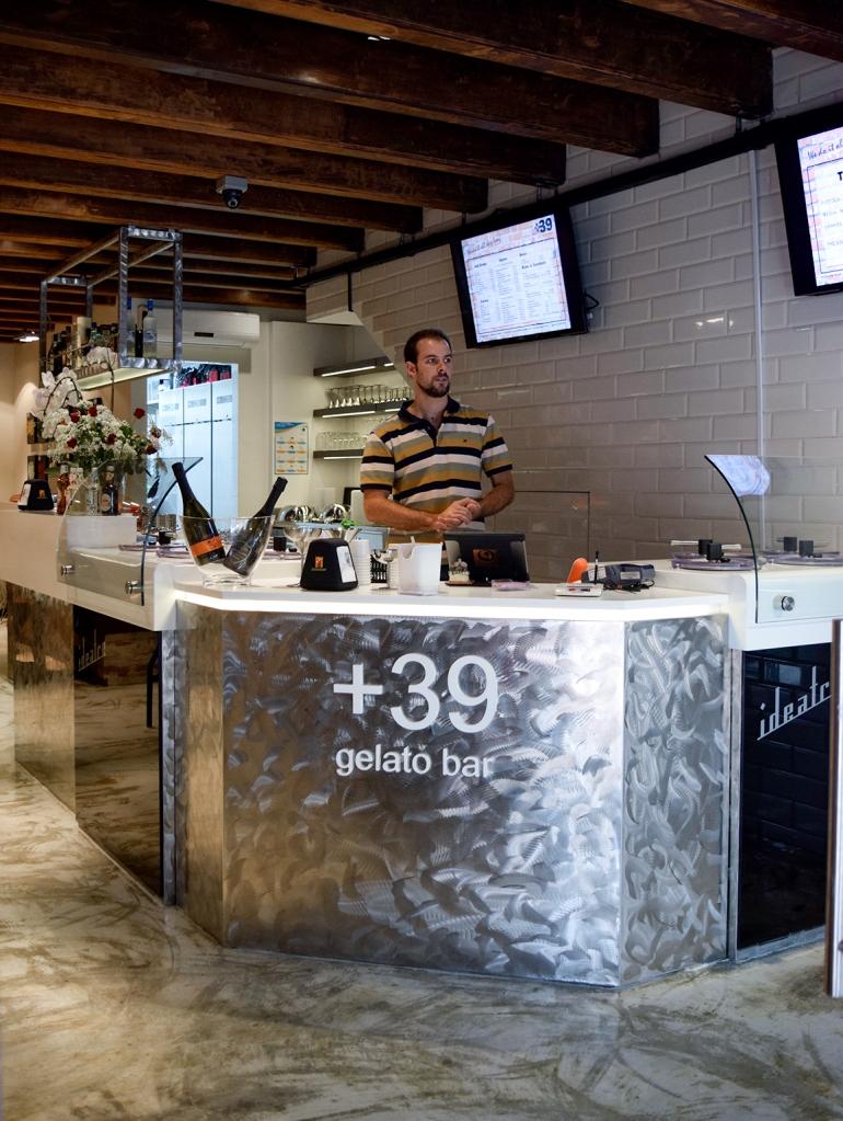 The bar area of plus39 gelato bar. (*And Chef Stefano Cadorin.)