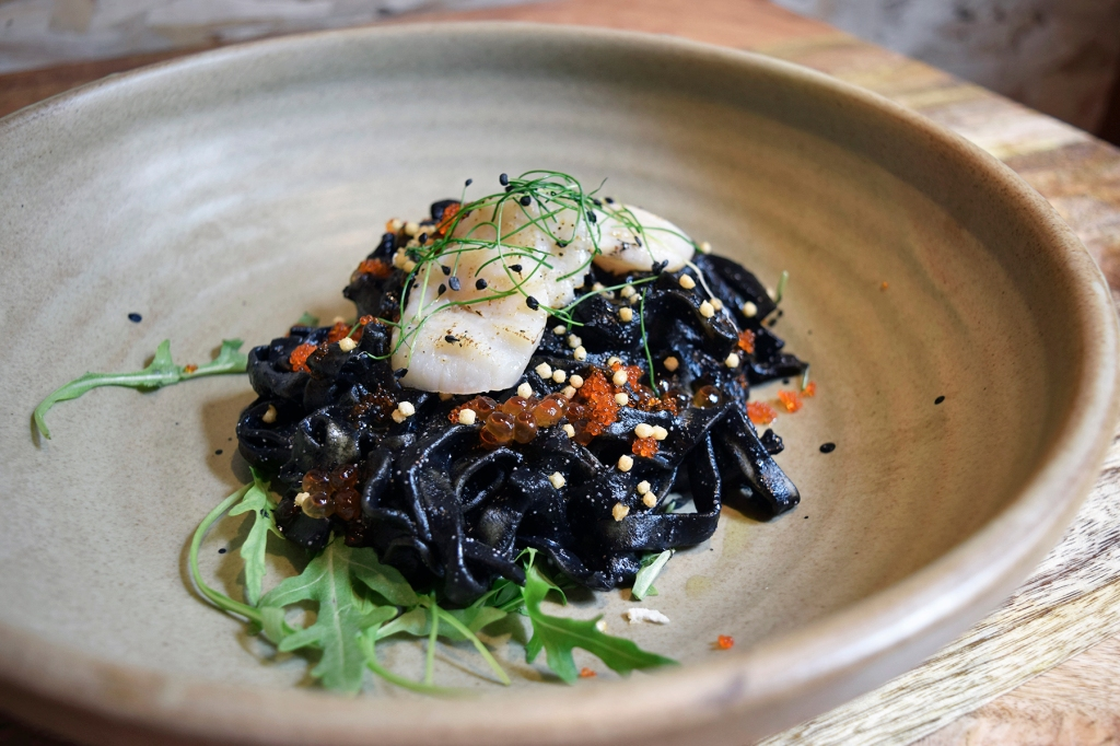 Squid Ink Tagliatelle ($23) Puffed Rice, Seared Scallops, Mentaiko, Ikura, Tobiko The last three ingredients of the dish basically sold it for me. I do love my fair share of pastas as well which made this dish a no-brainer to try. Overall, I really liked the taste of the dish, it was perfect, with delicious fresh scallops. The puffed rice add a slight crisp to each bite as well. I did find that the sauce was slightly too thick, which made it somewhat overwhelming, especially when paired with Tagliatelle, which is a pretty thick pasta by itself.