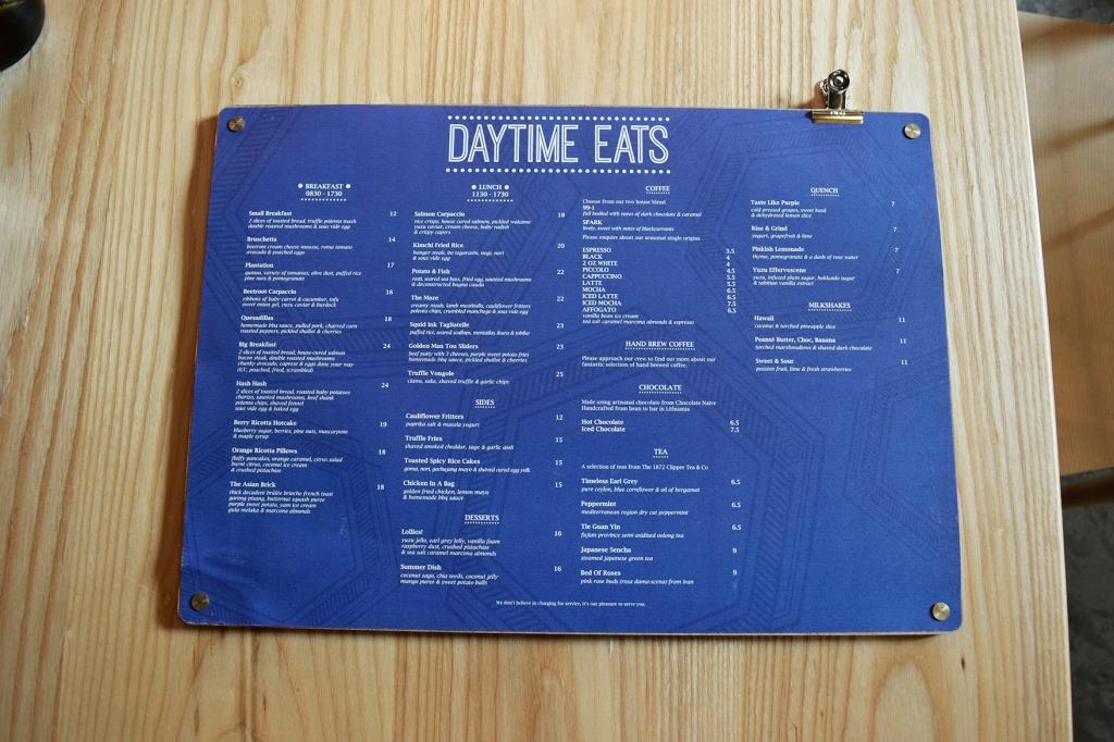 Daytime Eats menu of Paddy Hills.