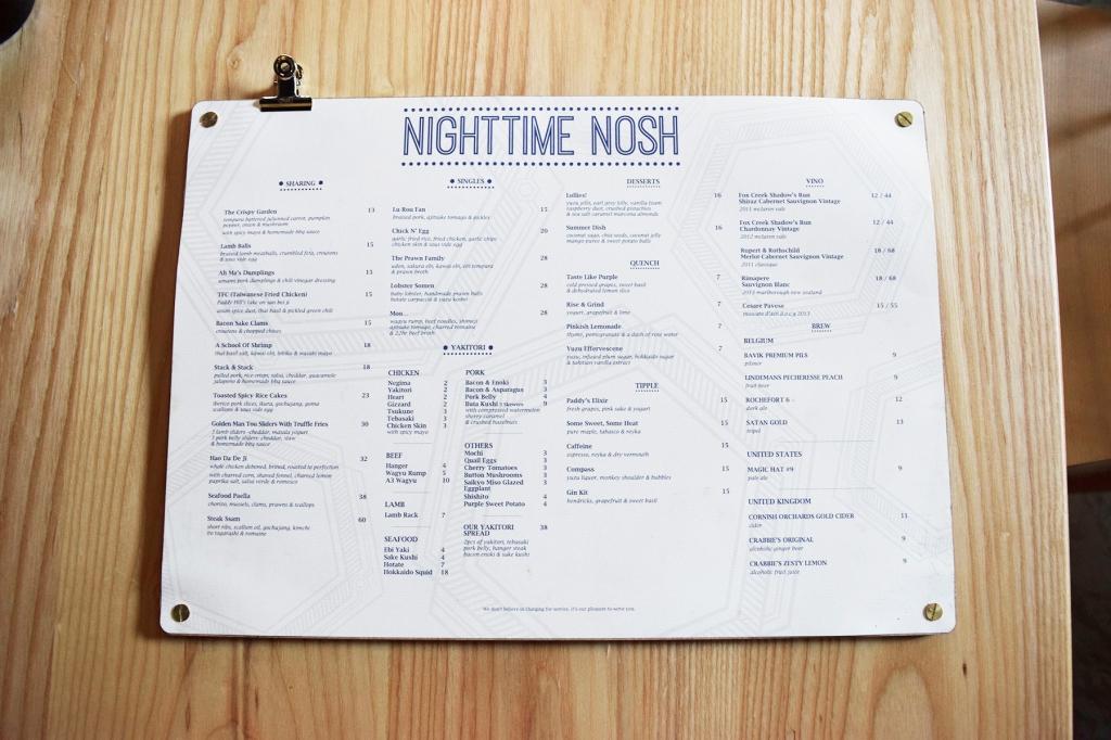 And.... Nighttime Nosh menu of Paddy Hills.