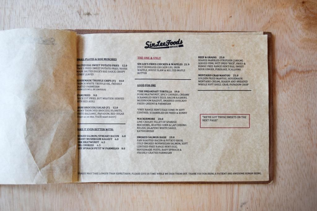 New revised menu of Sin Lee Foods.