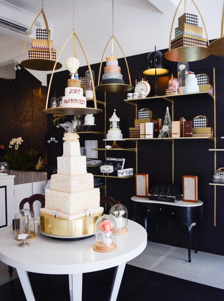 Inside the elegant cakery.
