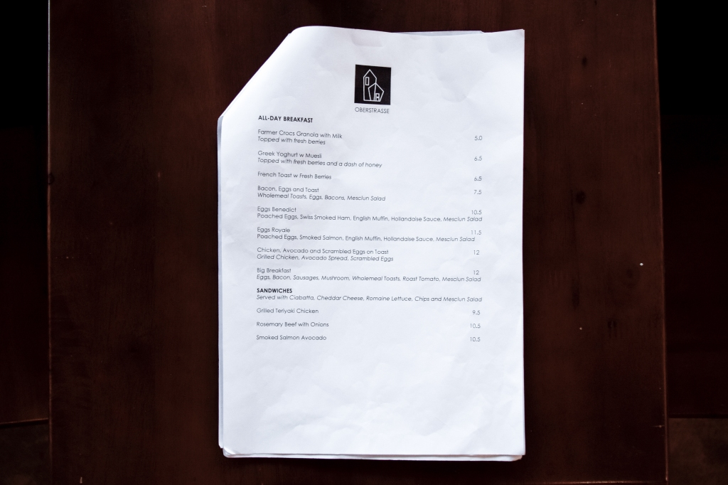 All-day breakfast section of Oberstrasse's menu.